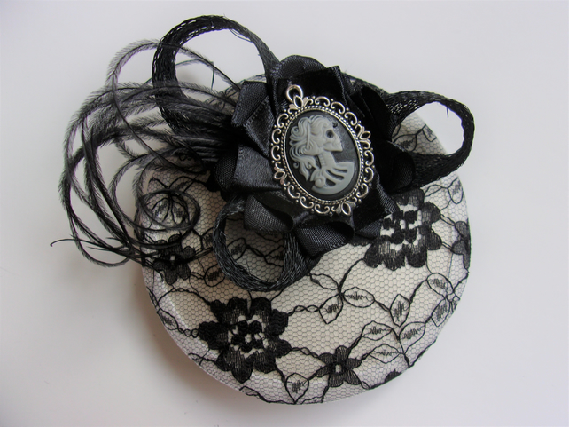 Small Black and Cream Victorian Gothic Skeleton Girl Lace Cocktail Hat