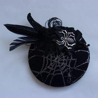 Black & Silver Spider Cobweb Feather Cocktail Hat Fascinator Halloween Gothic