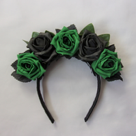Black and Emerald Green Rose Flower Gothic Bridal Crown Headdress