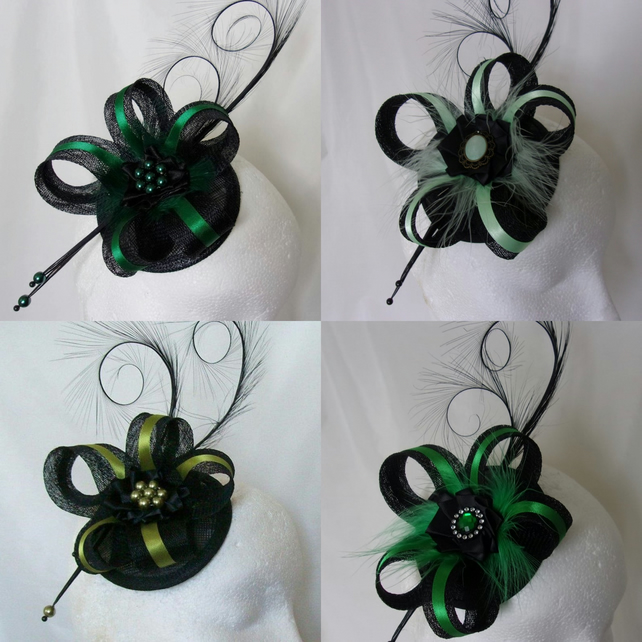 Black and Green Coloured Sinamay Loop & Feather Wedding Fascinator Mini Hat