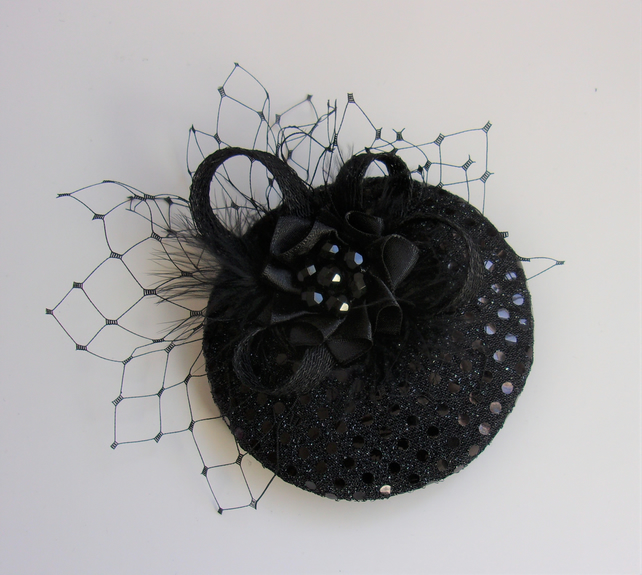 Black Sparkle Sequin Retro Mini Cocktail Hat Fascinator