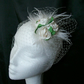 Small Ivory Rose Feather and Veil Mini Bridal Wedding Fascinator Clip