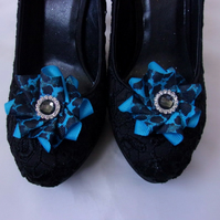 Turquoise Blue & Black Leopard Print & Crystal Ruffle Shoe Clips Wedding Prom