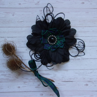 Black Watch Tartan Plaid Black Flower Crystal Brooch Corsage