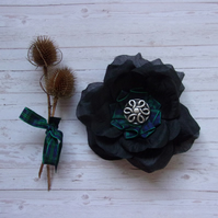 Black Watch Tartan Plaid Black Rose Celtic Brooch Corsage