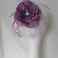 Amethyst Plum & Grey Blossom Flower Hair Clip Accessory