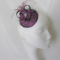 Hot Pink and Dark Grey Paisley Satin Feather Retro Cocktail Fascinator Hat