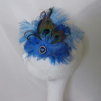 Pale Sapphire Blue Peacock Feather Vintage Style Hair Clip Fascinator