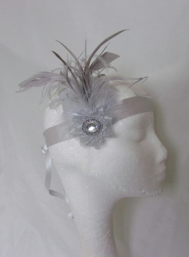 Shades of Grey Feather and Crystal Vintage Art Deco Style Flapper Headband