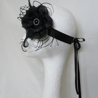 Black Rose Flower and Feather Crystal Vintage Style Flapper Headband