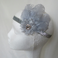 Silver Grey Feather & Diamante Glitter Vintage Art Deco Style Flapper Headband