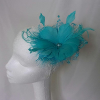 Pale Turquoise Blue Feather Flower and Crystal Fascinator Hair Accessory