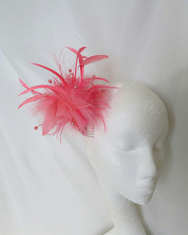 Bright Coral Flamingo Pink Mixed Feather and Pearl Fascinator Hair Comb