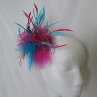 Bright Turquoise & Cerise Fuchsia Pink Feather Fascinator