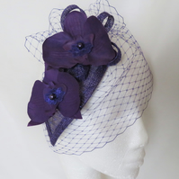 Dark Purple Retro Orchid Flower Cocktail Fascinator Hat