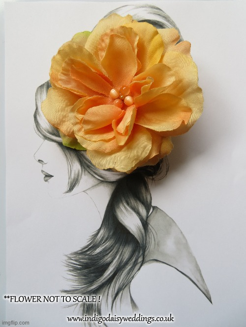 Apricot Orange Tangerine Rose Hair Clip Hair Accessory Retro Boho Vintage Prom