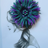 Purple & Teal Blue Shaggy Gerbera Daisy and Pearl Flower Hair Clip