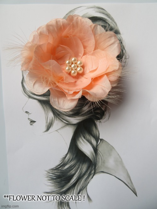 Bright Peach Rose & Feather Hair Clip Retro Vintage Rockabilly Pin Up Accessory