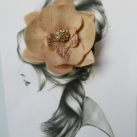 Latte Nude Orchid Flower Vintage Retro Rockabilly Pin Up Hair Flower Clip