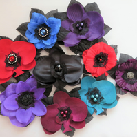 Gothic Vintage Rockabilly Hair Flowers Jewel Colour Flower Clips Fascinator