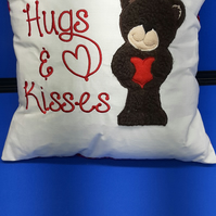 Love and kisses, teddy cushion, Mothers day, loved one. Machine embroidery