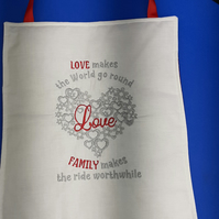 Machine embroidered love wall hanging. Mothers day