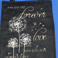Machine embroidered forever love wall hanging. Valentines