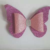 Beautiful Butterfly Glitter Hair Bow