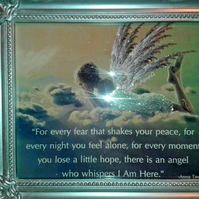 Beautiful Angel Quote Glitter Art Framed Picture
