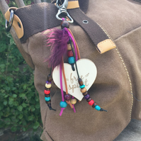 Free spirit hippy chic bag charm - tassel - purse charm.