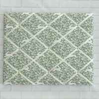 Sage Green Spring Hares French Memo Board - Fabric Noticeboard - Bulletin Board