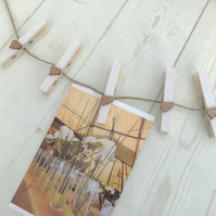 Country Style Hanging Photo Display - Card Garland - Peg Bunting
