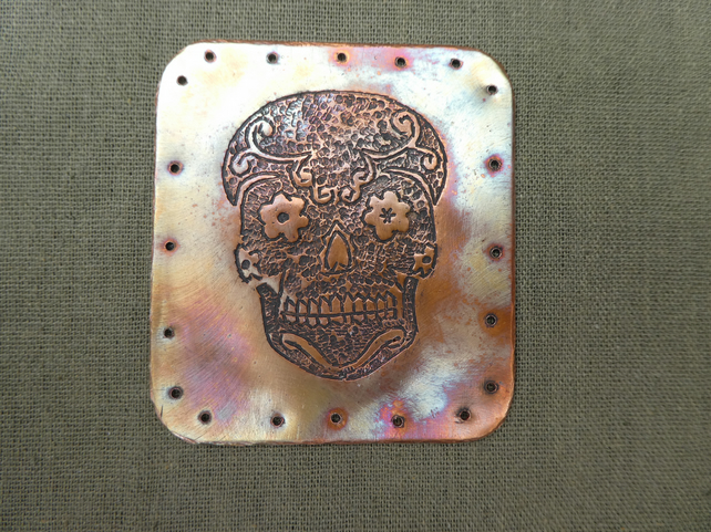 Hand Hammered Copper Candy Skull Sew On Badge