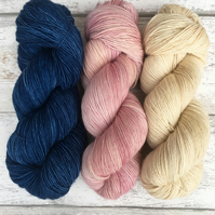 Blueberry Cream Hand Dyed Merino Yarn Set : Made to order on your choice of base