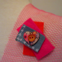 Pretty Orange Pink & Grey Felt Brooch with Wooden Heart Button Pin