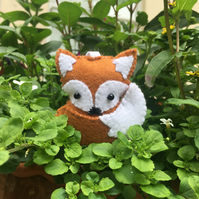 Brown felt fox hanging ornament