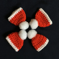 Crochet Christmas Tree Decorations Red Beanies Woolly Hats