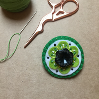 Green Embroidered Felt Brooch