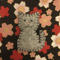 Woollen Felt Cat Brooch Hand Embroidered