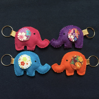 Felt Elephant Keyring with Japanese fabric