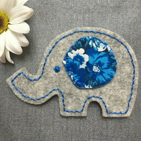 Grey Wool Felt Elephant Brooch with Liberty Fabric
