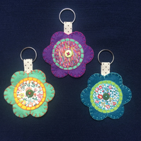 Liberty fabric felt flower keyring or bag charm