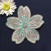 Teal Embroidered Cherry Blossom Flower Hair Clip Barette