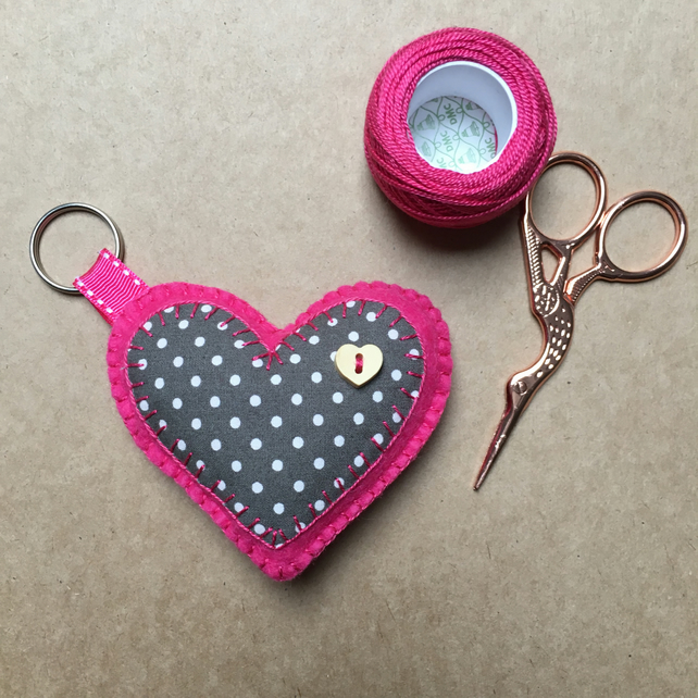 Felt Heart Button Keyring Bag Charm Pink and Grey