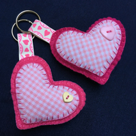 Pink and Cerise Felt Heart Button Keyring Bagcharm