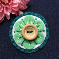 Embroidered Teal White and Green Retro Folk Art Flower Felt Brooch