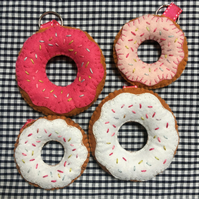 Pink and White Doughnuts with Sprinkles Felt Keyring