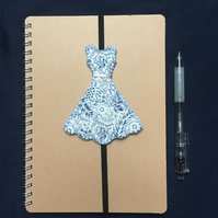 Floral Blue and White Dress Bookmark