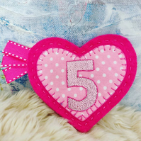 Pink Heart Birthday Badge Rosette Personalised