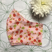 Japanese Pink and Red Blossoms Cotton Face Mask Adult Child Reusable